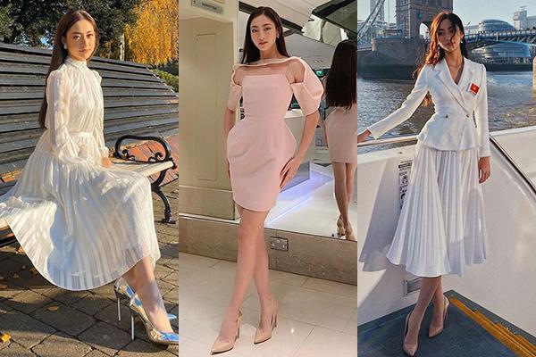 Hoa hậu sinh năm 2000 và ê kíp nghiên cứu kỹ lưỡng trang phục cho từng hoạt động. Cô thường xuất hiện cùng những gam màu ngọt ngào như hồng pastel, trắng... Đây là những tông tôn lên vẻ đẹp nhẹ nhàng, rất phù hợp với tiêu chí mà Miss World hướng tới.