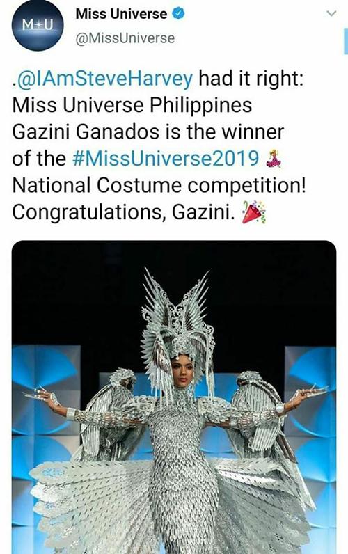 Thông báo của tổ chức Miss Universe.