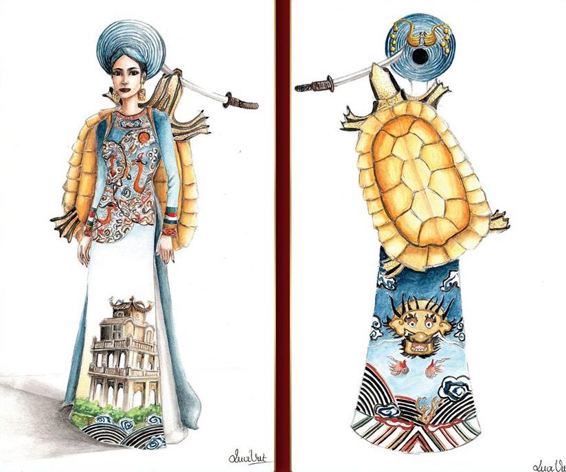Trang phục Hồ Gươm - Vũ Quốc Việt lấyý tưởng từ sự tích Hồ Gươm, với thiết kế này người xem có thể liên tưởng được cốt truyện, bởi sự nổi bật của Rùa Vàng (mẫu vẽ làm bằng mô hình) và Hồ Gươm cùng với những họa tiết trên chiếc áo dài không đối xứng với nhau và cùng với màu sắc, khiến bộ trang phục trở nên tình cảm hơn.