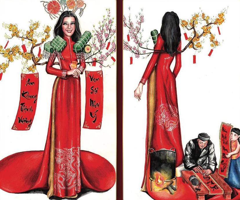 Với cảm hứng từ Tết cổ truyền của Việt Nam, bản vẽ Tết Việt của tác giả Nguyễn Phúc Hậu nhận được nhiều sự hưởng ứng. Thiết kế áo dài có tông đỏ đơn giản, tuy nhiên phụ kiện đi kèm là rất nhiều hình ảnh đặc trưng ngày Tết như cây mai, cây đào, bánh chưng, câu đối đỏ và cả ông đồ ngồi viết thư pháp, gắn ở sau lưng, hai bên vai cũng như phía sau tà áo dài. Nếu thành hiện thực, đây sẽ là một tác phẩm có kích thước khá cồng kềnh.