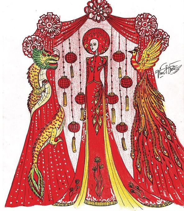 Với Đám cưới Việt, tác giả Phạm Ngọc Đào dựng cả một rạp cưới truyền thống lên bộ áo dài với nhiều chi tiết phụ kiện đi kèm.