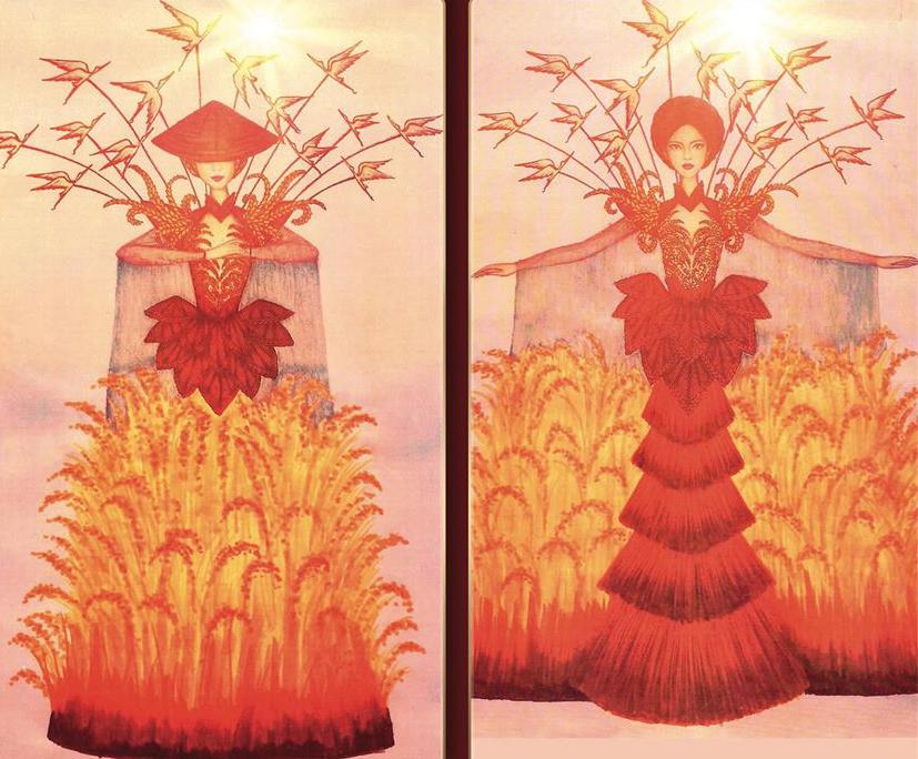 Hình ảnh người phụ nữ nông dân Việt Nam giữa cánh đồng lúa chín vàng cùng tà áo dài cách điệu xếp tầng như những chồng rơm cũ chính là nguồn cảm hứng để tôi vẽ nên bộ quốc phục truyền thống mang tên gánh lúa.