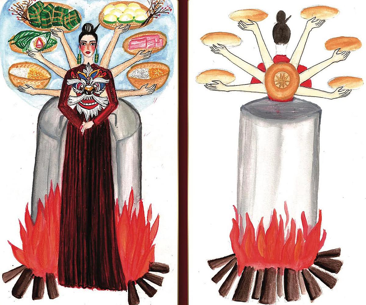 Bánh chưng bánh giày - Nguyễn Thành Phát cũng lấy ý tưởng từ ngày Tết, tuy nhiên tập trung vào hai món ăn truyền thống. Bộ áo dài khiến nhiều người thích thú khi mang hình ảnh nhóm củi nấu bánh lên phần tà. Phía sau lưng gắn nhiều tay mô phỏng quá trình làm nên một chiếc bánh.