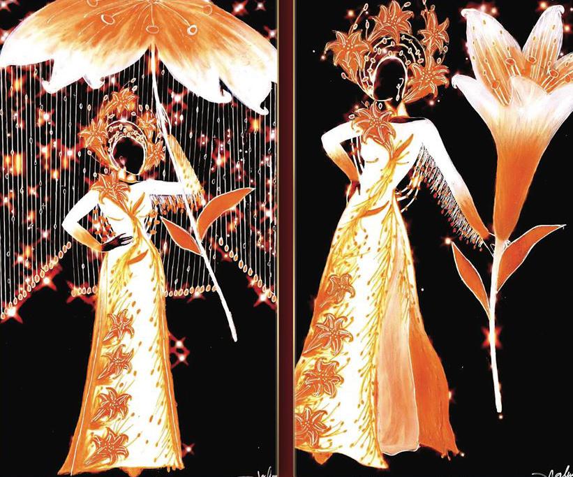 Lấy cảm hứng từ bức tranh nổi tiếng thiếu nữ bên hoa huệ của danh họa Tô Ngọc Vân