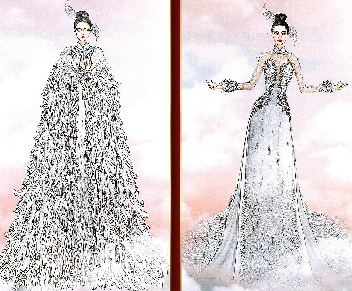 Lạc Vân của Võ Thanh Can thu hút đến 15 nghìn lượt thích khi mang hình ảnh cánh cò lên bộ áo dài tông trắng tinh khôi, điểm xuyết chất liệu lưới mỏng gợi cảm và lông vũ quyến rũ.