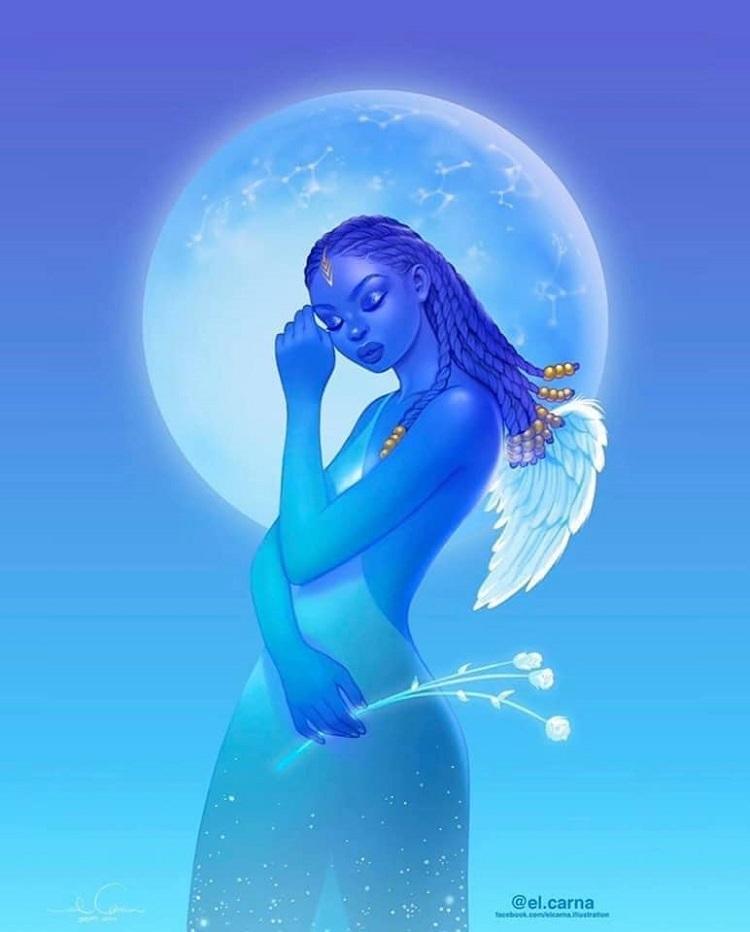 Bộ tranh nữ thần da màu phiên bản 12 cung hoàng đạo - 10
