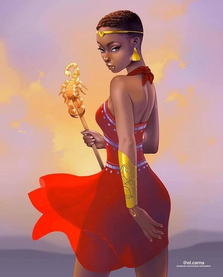 Bộ tranh nữ thần da màu phiên bản 12 cung hoàng đạo - 14