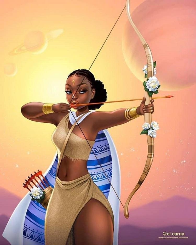 Bộ tranh nữ thần da màu phiên bản 12 cung hoàng đạo - 16