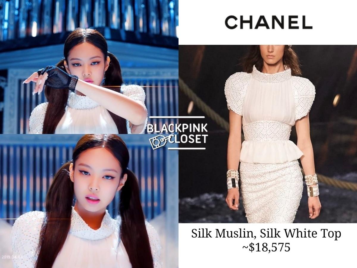 Trong một phân cảnh MV Kill this Love, Jennie mặc chiếc áo của Chanel có giá 18.575 USD (khoảng 430 triệu đồng).