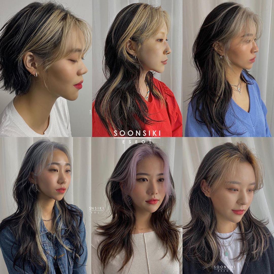 Những ngày gần đây, kiểu tóc nhuộm mái cá tính là hot trend được nhiều cô gái chọn làm nhất tại các salon tóc ở xứ sở kim chi.