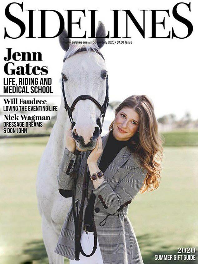 Jennifer Gates xuất hiện trên bìa tạp chí Sidelines.