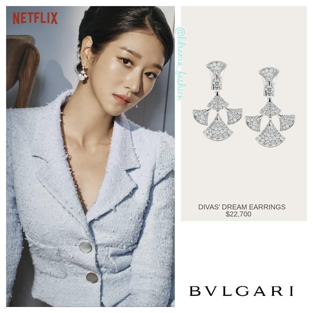 Mỹ nhân điên cũng diện đôi bông tai đính kim cương của Bvlgari. Thiết kế này có giá còn chóng mặt hơn: 22.700 USD (khoảng 530 triệu đồng).