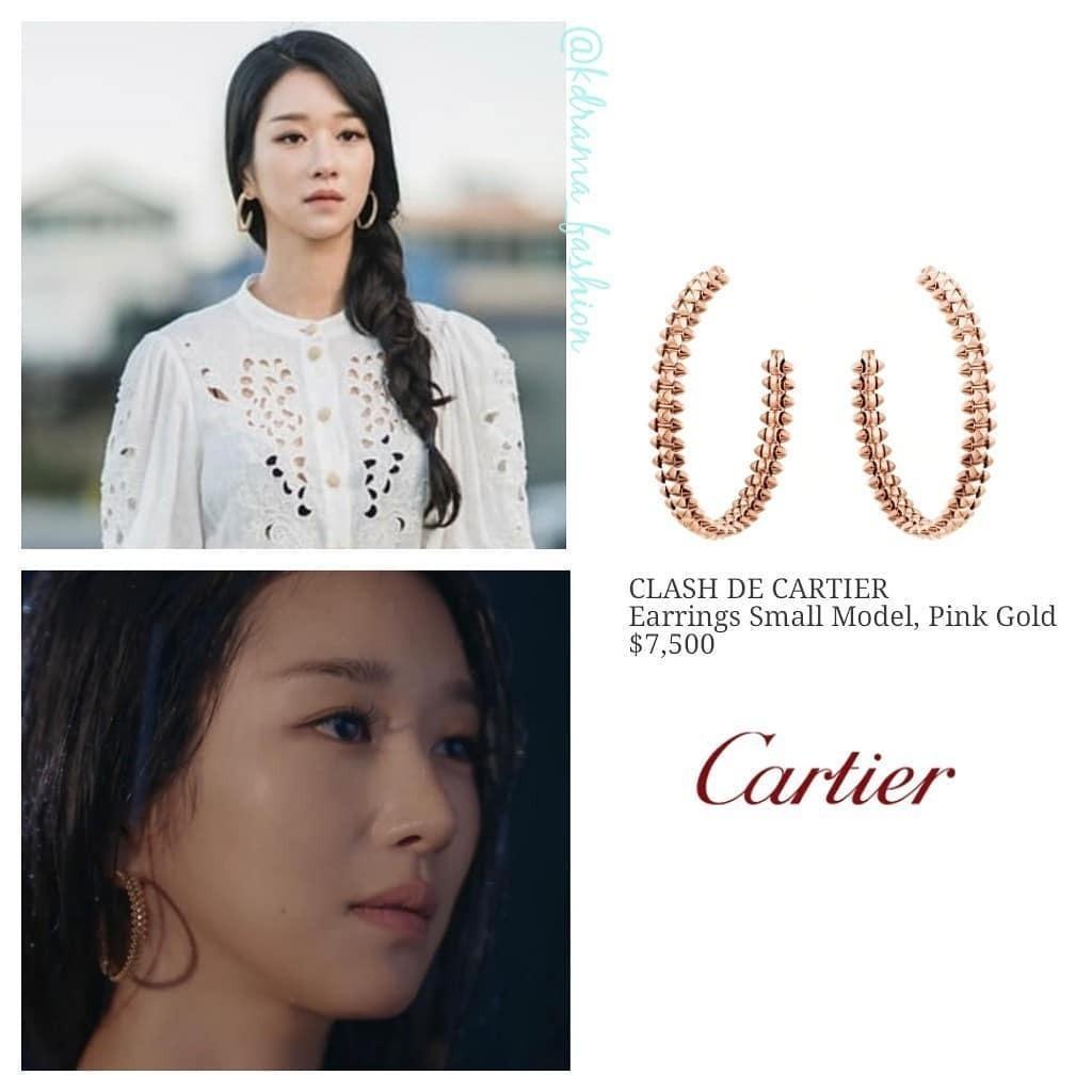 Hoa tai vàng trắng của Cartier giá 7.500 USD (175 triệu đồng) cho thấy Moon Young là cô gái không có gì ngoài tiền.