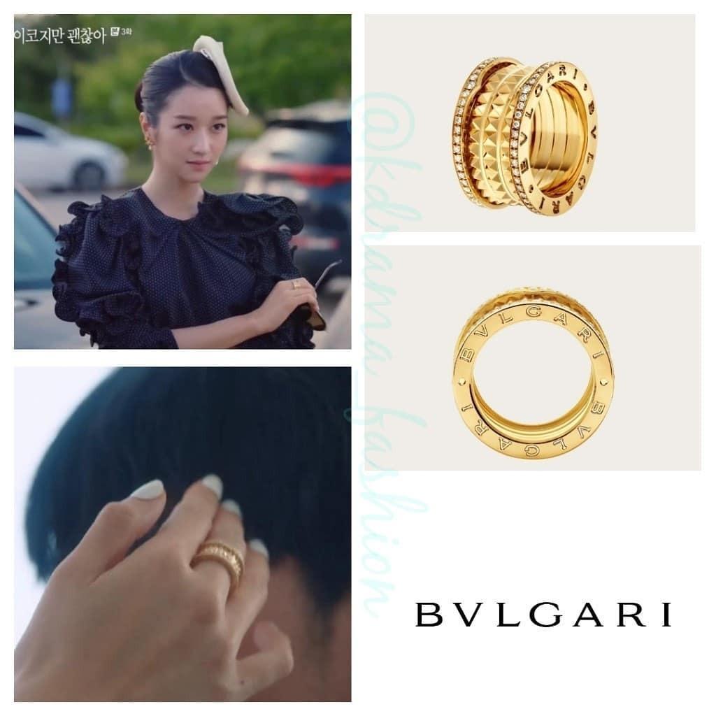 Trong phim, Moon Young đeo rất nhiều trang sức của thương hiệu xa xỉ Bvlgari. Riêng chiếc nhẫn cô diện ở tập 3 và 4 đã có giá sương sương hơn 7.000 USD (khoảng 165 triệu đồng).