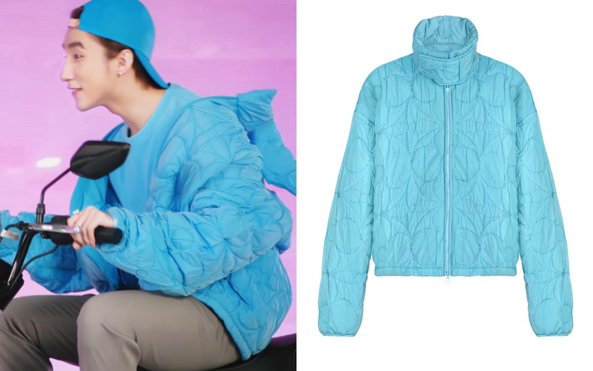 Áo khoác phao chần họa tiết Monogram giá 4.050 USD (94 triệu đồng) tông xanh dương khiến nam ca sĩ nhí nhố như teen boy mới lớn.