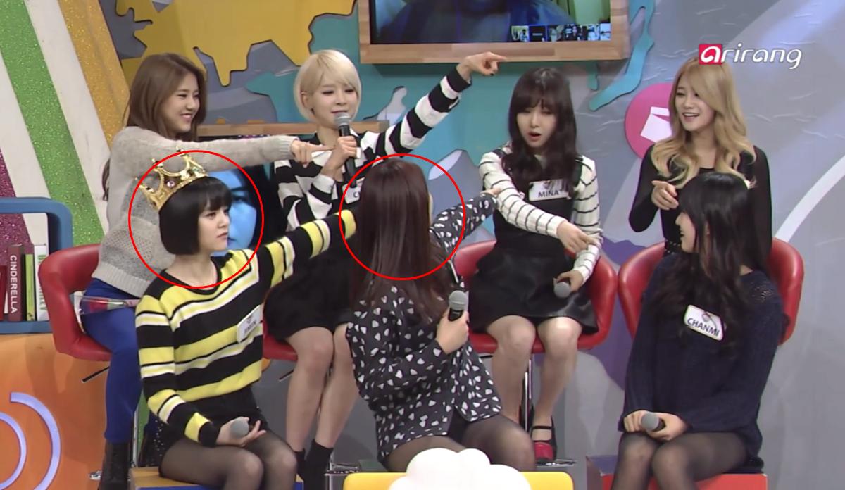 Cả Ji Min và Seol Hyun đều chọn Mina là thành viên gây khó chịu nhất trong một show năm 2014.