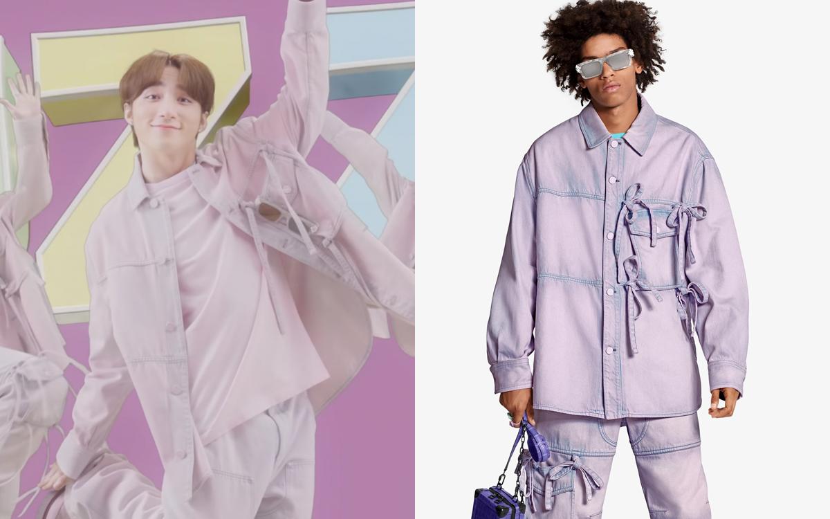 Chiếc áo khoác denim màu loang hồng tím có giá 2.220 USD (gần 52 triệu đồng) mang đến cho Sơn Tùng hình ảnh tinh nghịch, vui nhộn.