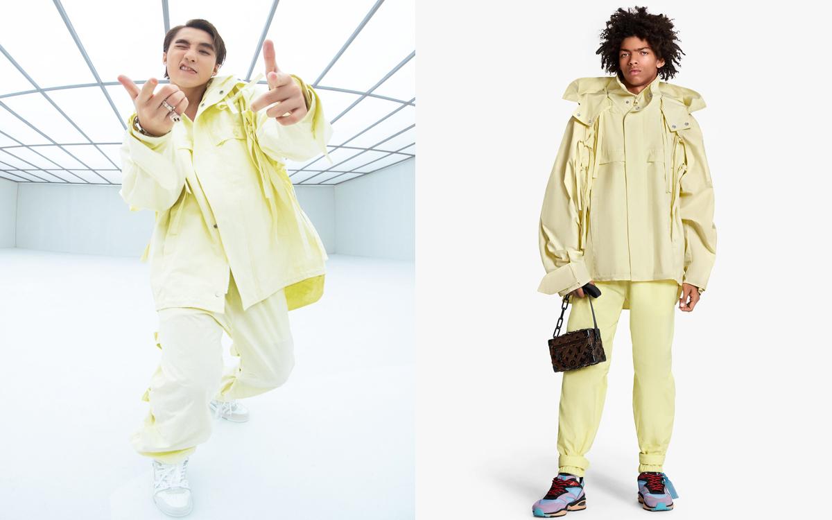 Set đồ tông vàng chanh dịu mắt giúp Sơn Tùng trông tươi trẻ nhưng vẫn cool ngầu. Chiếc áo khoác dạng blouson có giá 4.850 USD (gần 113 triệu đồng), trong khi đó quần jogger cũng rất đắt đỏ: 1.370 USD (gần 32 triệu đồng).
