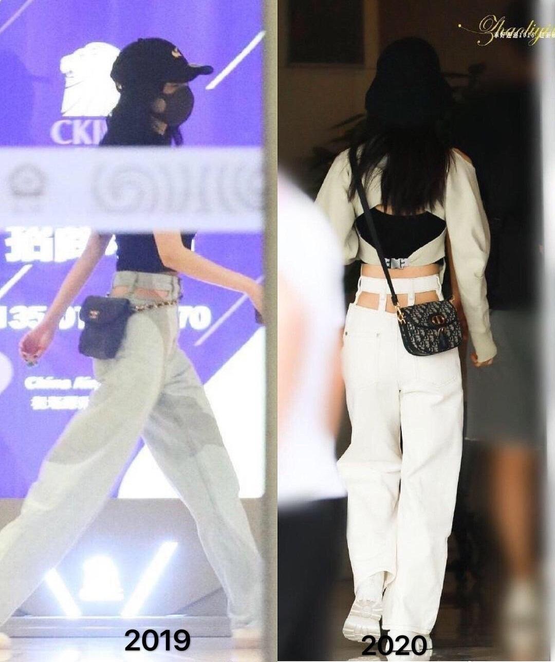 Triệu Lệ Dĩnh (phải) trong lần xuất hiện tại sân bay mới đây được cho là bắt chước diện kiểu quần cắt khoét khoe eo của Dương Mịch.