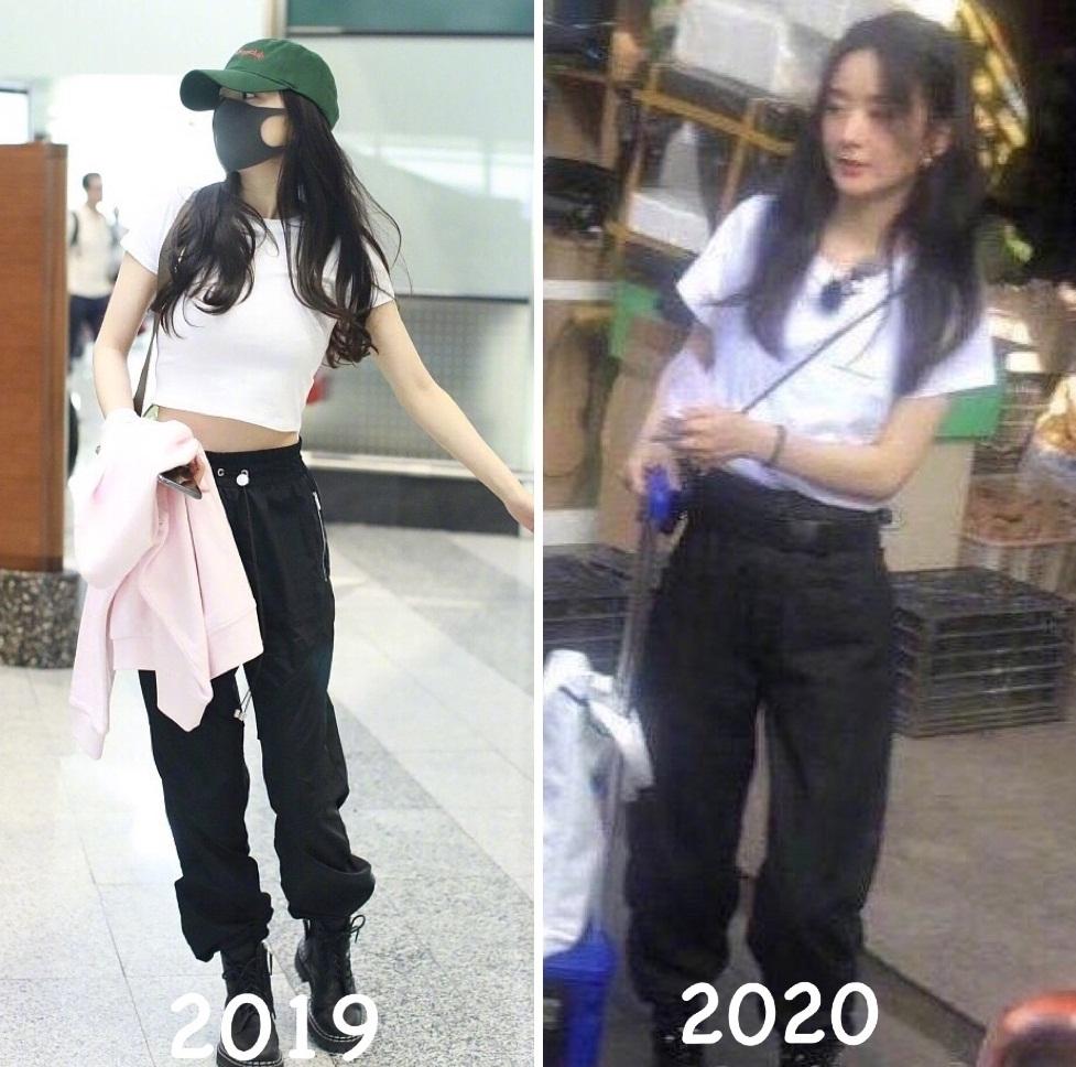 Triệu Lệ Dĩnh diện quần joggers với boots đen, kết hợp áo phông trắng khi quay show Nhà hàng Trung Hoa mới đây, cũng bị cho là học hỏi phong cách đàn chị.