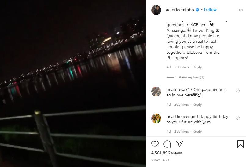 Trong ngày sinh nhật Kim Go Eun, Lee Min Ho đột nhiên trồi lên mạng, đăng một video đi dạo sông Hàn kèm bài hát tình yêu lãng mạn.