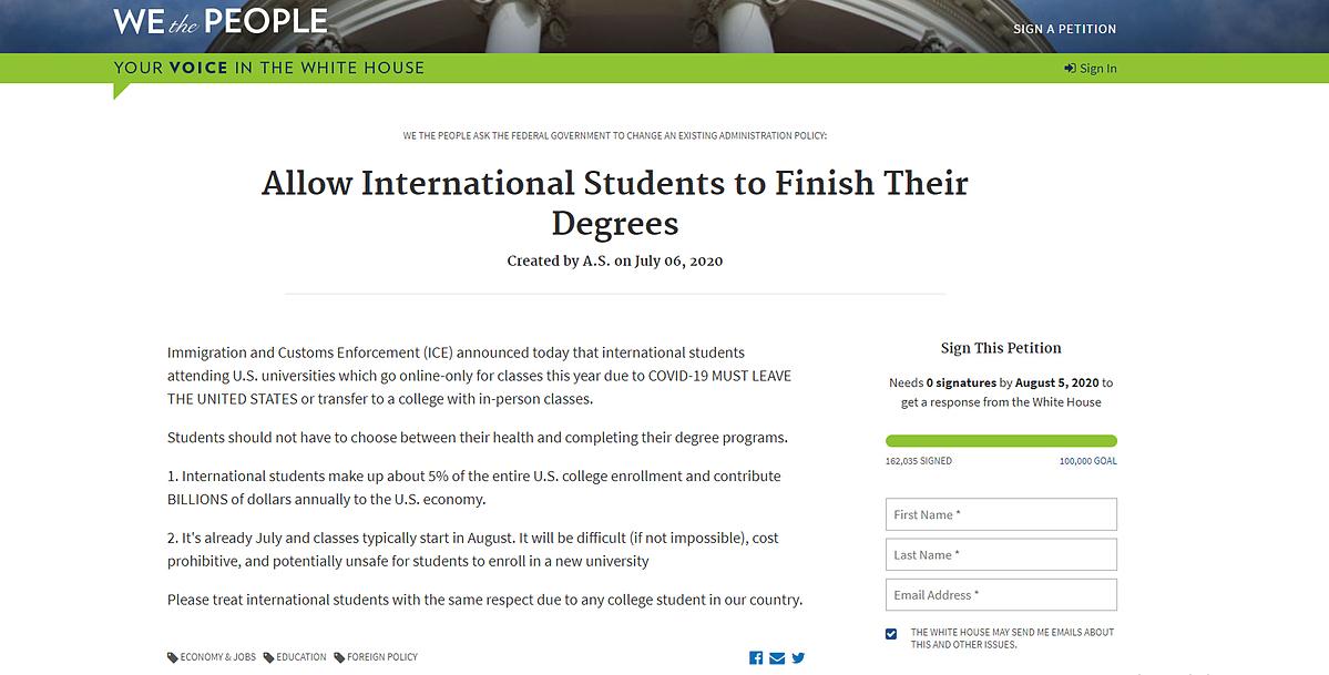 Đơn kiến nghị của du học sinh quốc tế gửi Nhà Trắng. Ảnh: Chụp màn hình.