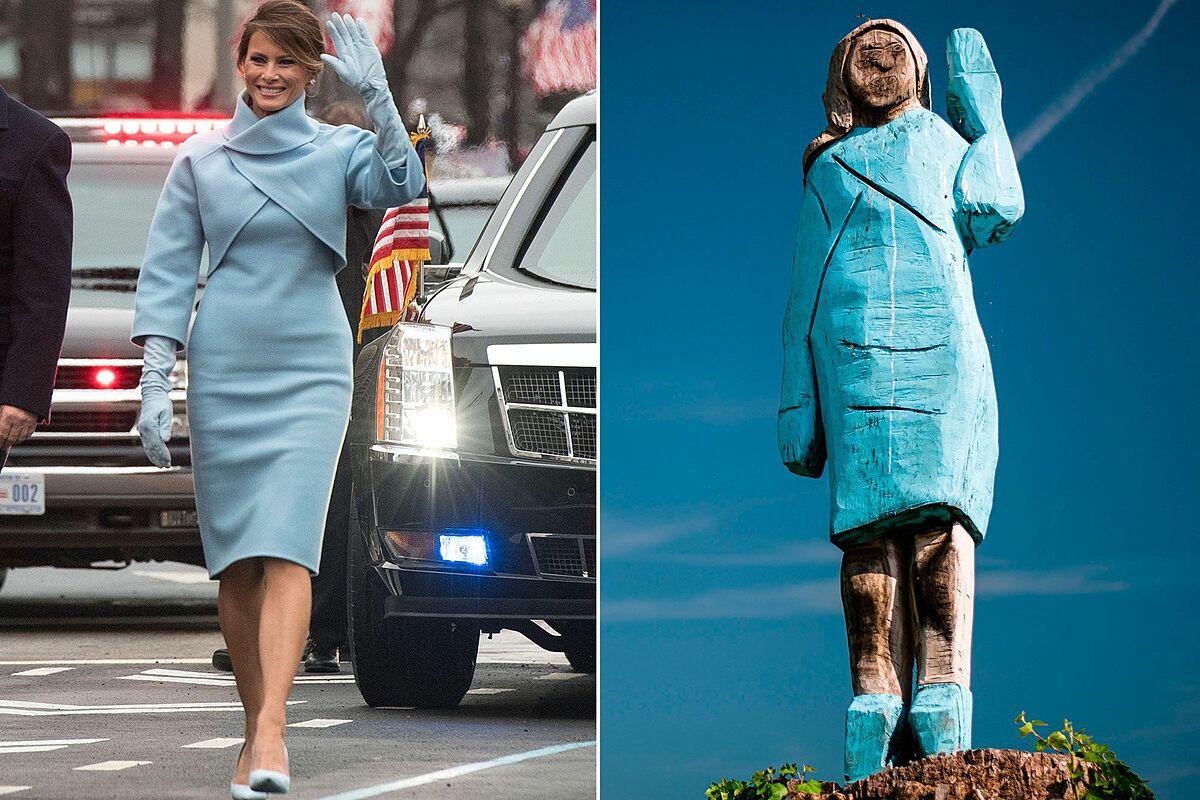 Bức tượng gỗ mô phỏng Đệ nhất phu nhân Mỹ được khánh thành hôm 5/7/2019.