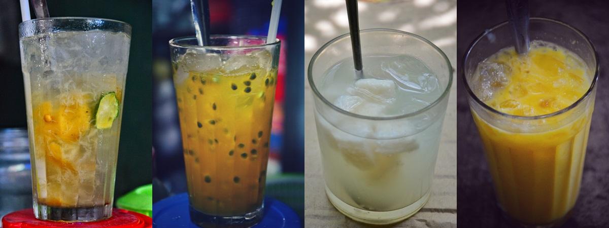 Các loại nước ép, sữa... cũng có giá 5.000 đồng, bán rất nhiều ở hẻm nhỏ, chợ và trên đường. Từ trái qua: nước chanh muối, chanh dây, rượu nếp, sữa bí.