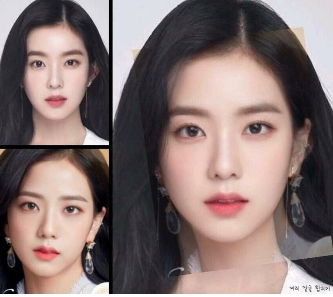 Irene có thế mạnh về đường nét hài hòa, ngũ quan cân đối. Ji Soo sở hữu đôi môi trái tim hiếm có. Netizen sững sờ khi chiêm ngưỡng kết quả sau khi kết hợp những nét đẹp này với nhau bằng đồ họa vi tính.