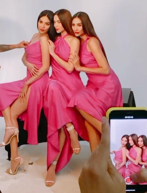 Hậu trường chụp ảnh của ba người đẹp.