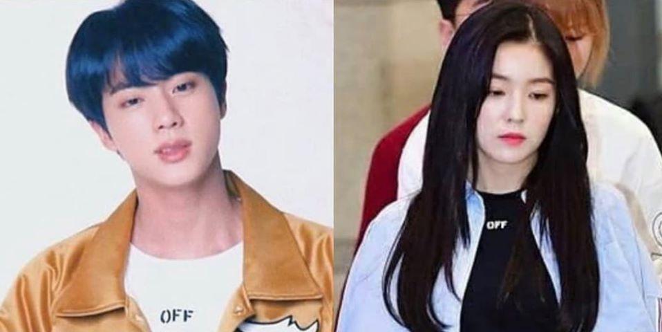 Jin và Irene mặc áo cùng một nhãn hiệu.