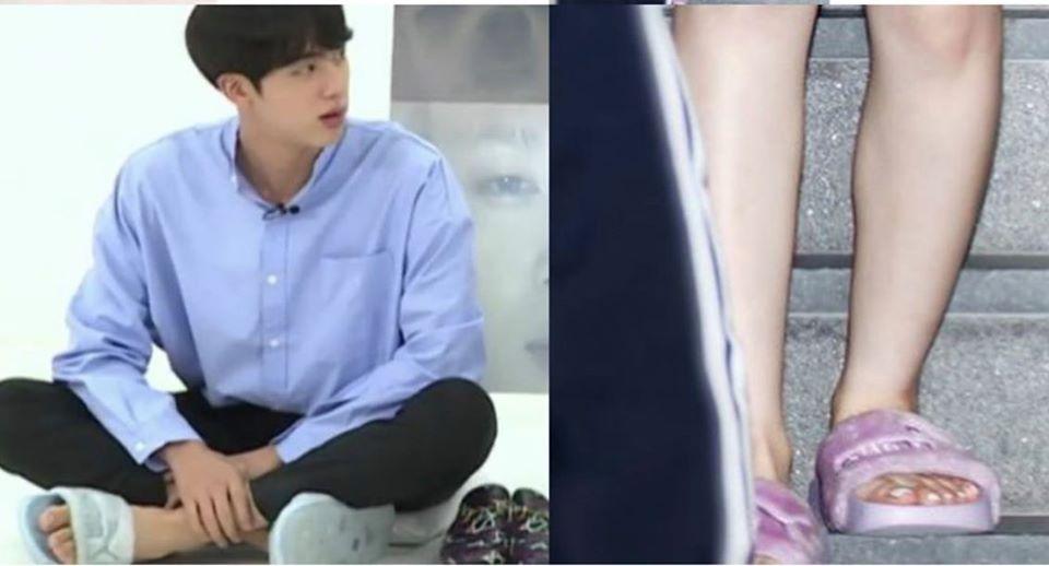 Jin - Irene đi dép giống nhay chỉ khác màu.