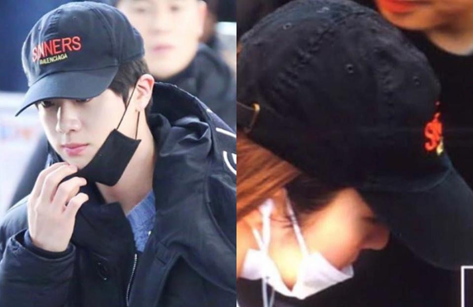 Jin - Irene đội chung một kiểu mũ.