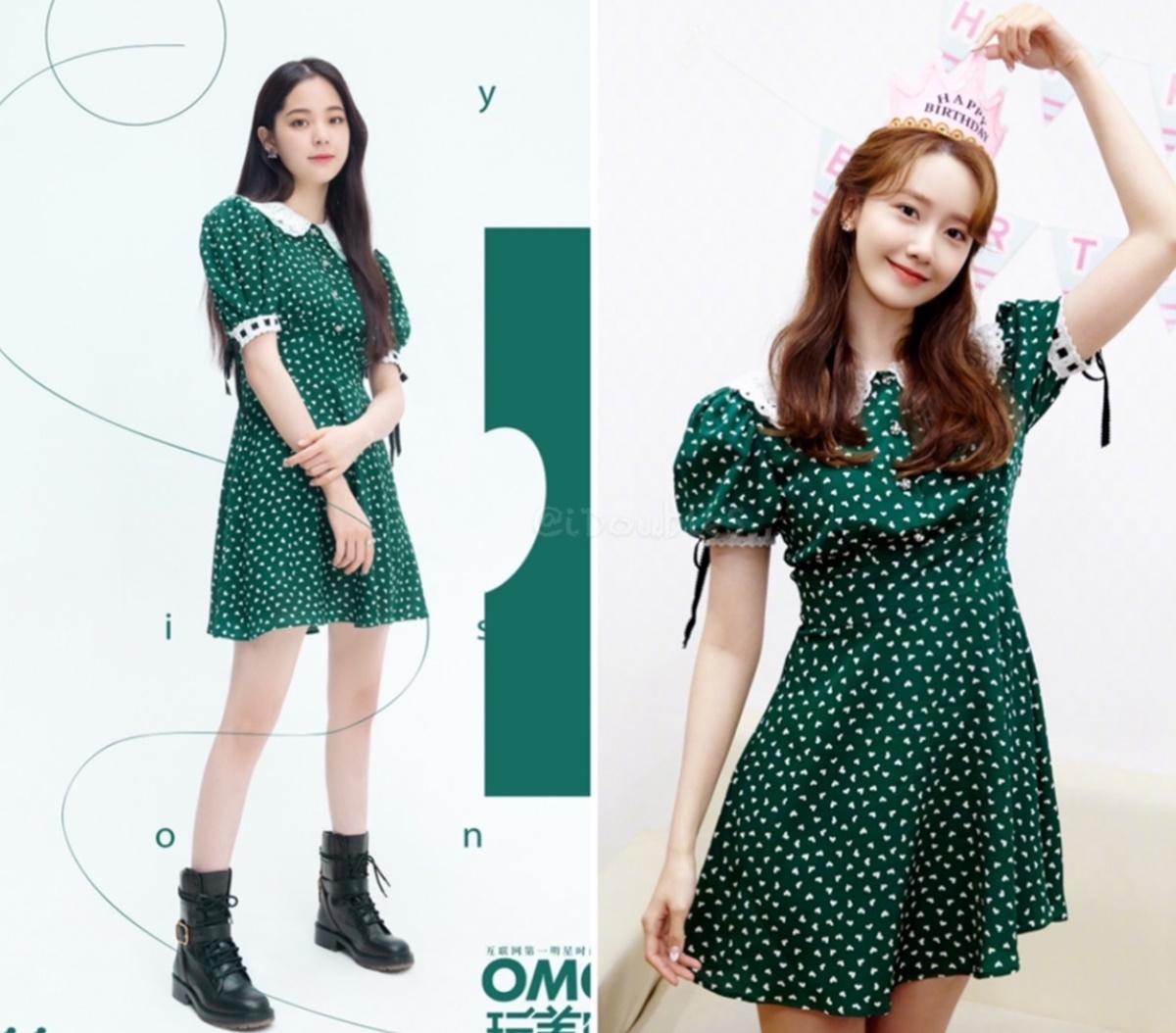 Âu Dương Na Na còn đụng váy chấm bi của Miu Miu với Yoona. Thiết kế này mang lại vẻ nữ tính, trong trẻo cho hai ngôi sao.