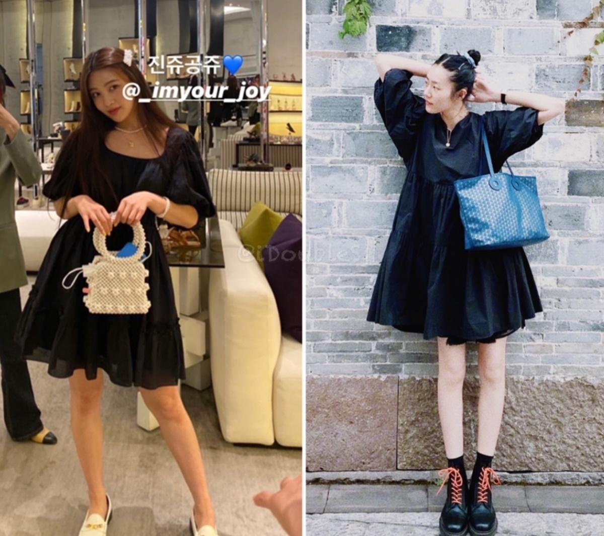 Joy (Red Velvet) và siêu mẫu Liu Wen đụng đầm babydoll của thương hiệu & Other Stories. Nữ idol Kpop phối phụ kiện túi xách, giày, vòng tay cùng tông trắng be để tạo điểm nhấn. Còn Liu Wen mix váy với boots đen đồng điệu làm nổi bật cặp chân thon.