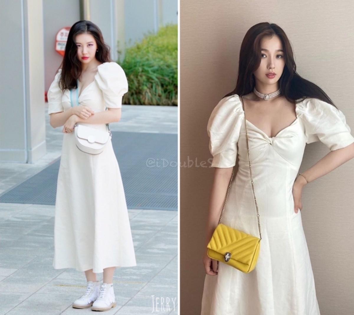 Sun Mi (trái) và thánh biểu cảm lố Ngu Thư Hân cùng diện váy Zara trắng có phần cổ khoét rộng gợi cảm. Hai người đẹp có kiểu tóc bồng bềnh và thần thái khá giống nhau.