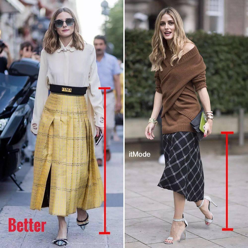 Váy cạp cao giúp kéo dài tỷ lệ đôi chân, trong khi váy hạ eo thì ngược lại. Vì vậy, nếu muốn thân hình trông mảnh mai, cao ráo hơn, nên cân nhắc chọn lựa và phối chân váy cho phù hợp.