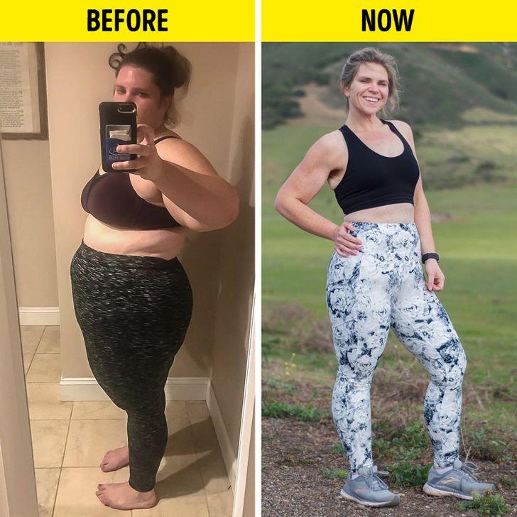 Hình ảnh của Kiah Twisselman trước và sau khi giảm cân.