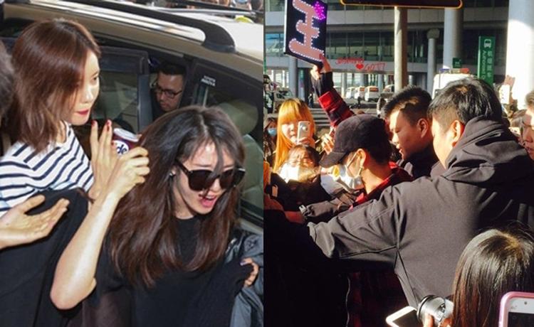 Ji Yeon (T-ara) và Ji Young (GOT7) bị xô đẩy bởi đám đông fan vây kín.