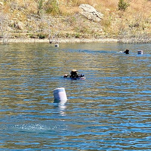 Thợ lặn tìm Naya Rivera tại hồ Piru. Hôm nay đánh dấu ngày thứ năm liên tiếp đội cứu hộ tìm kiếm thi thể diễn viên. Ảnh: Sở cảnh sát hạt Ventura.