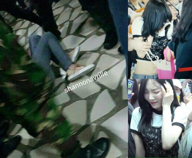 Tae Yeon bị xô ngã.