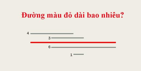 Đường kẻ màu đỏ dài bao nhiêu?