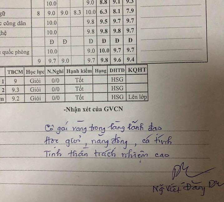 Lời nhận xét của thầy Du dành cho nữ học sinh.