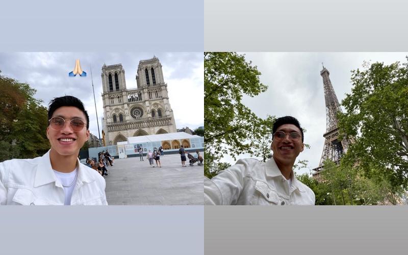 Văn Hậu vui vẻ đi tham quan Paris trước khi về.