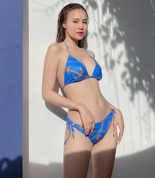 Diện bikini, Lan Ngọc chứng minh vóc dáng gợi cảm, không hề gầy gò như nhiều fan vẫn lo ngại.