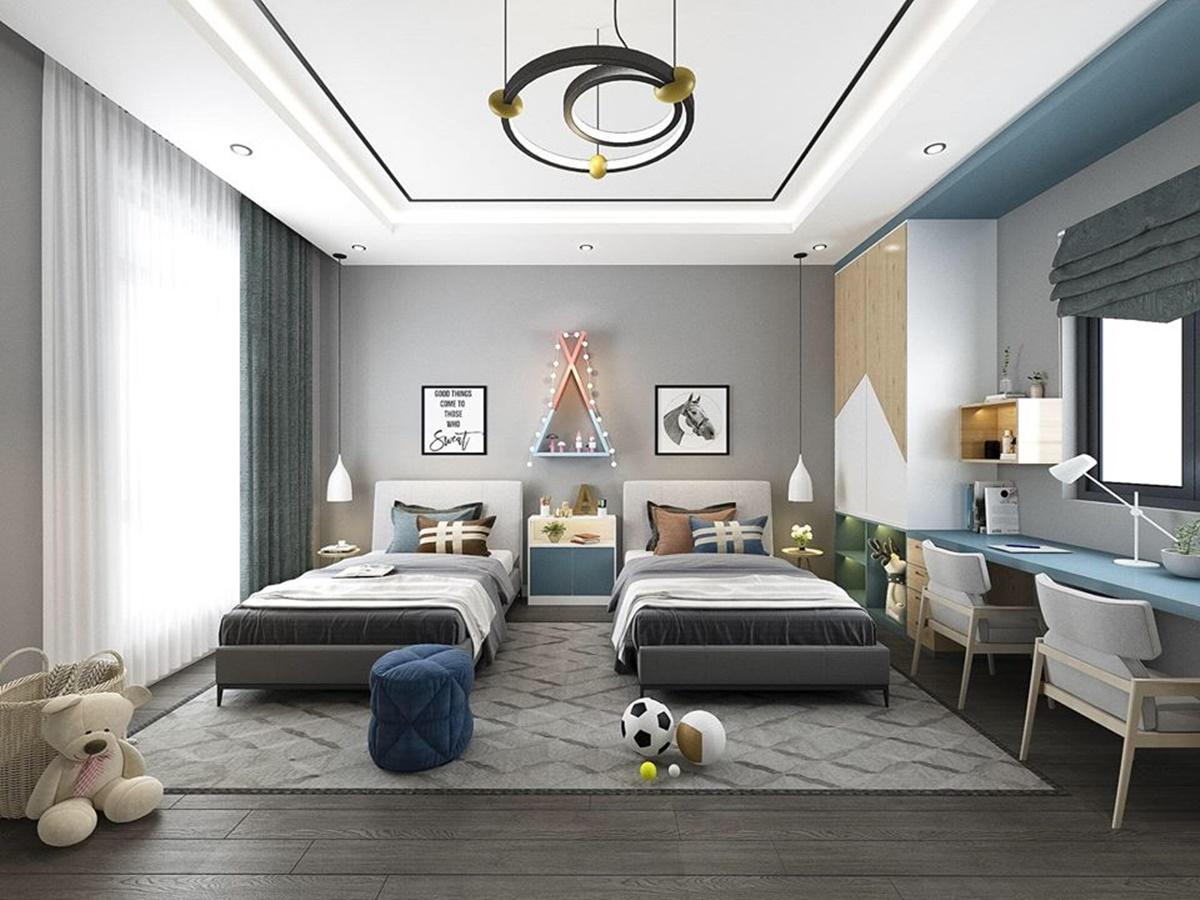 Hai con trai của Lê Hoàng được bố cho ngủ chung phòng. Phòng ngủ thiết kế tối giản, bố trí nhiều đồ chơi, thiết bị học tập.