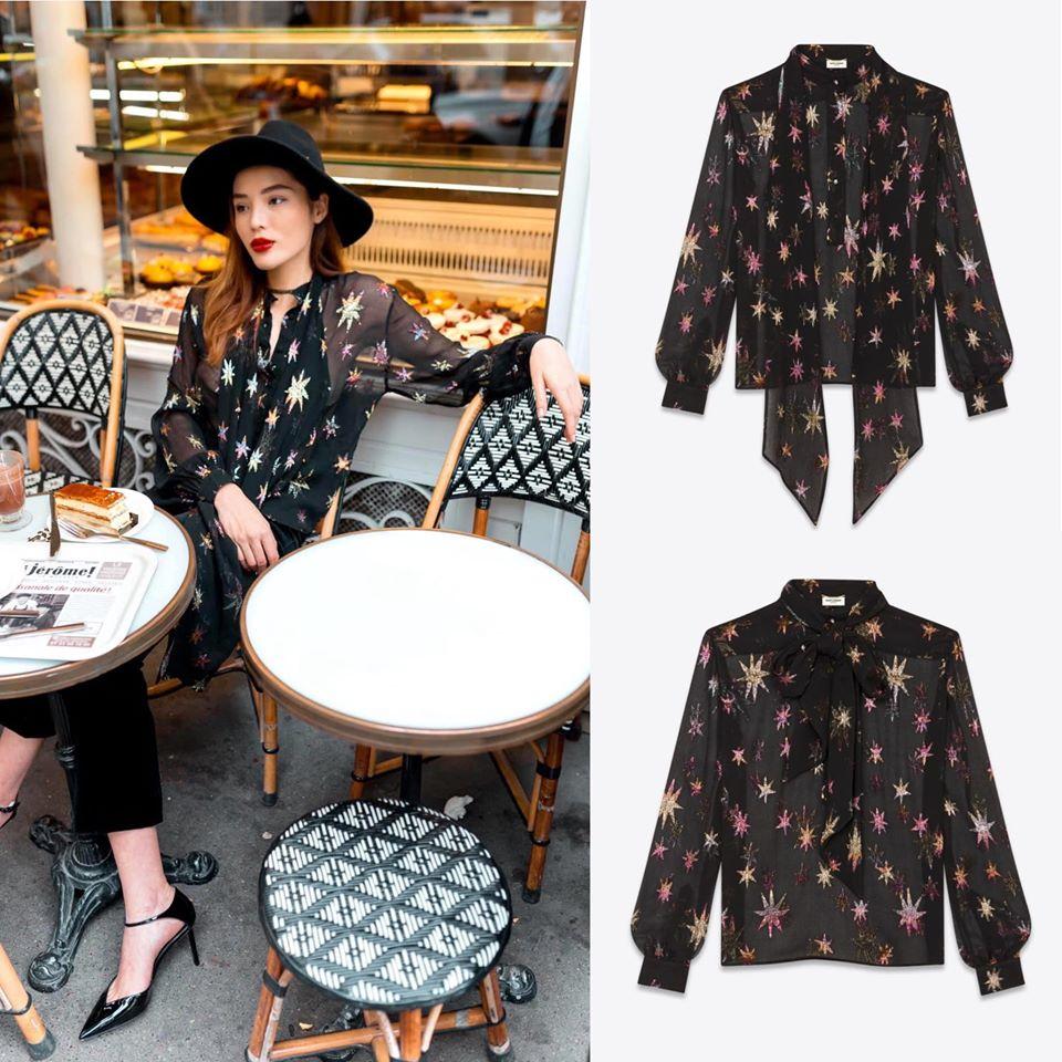 Saint Laurent Mao collar blouse new 100% size S (full bag) Retail : ~$2500 - Sale 12tr