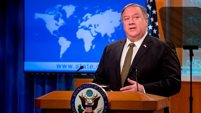 Ngoại trưởng Mỹ Mike Pompeo tại buổi họp báo ở Bộ Ngoại giao ngày 10/6. Ảnh: CNN.
