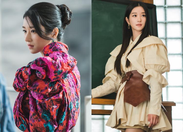 Theo đuổi phong cách quý tộc như các cô gái châu Âu nên Go Moon Young mê mệt trang phục độn vai hoặc có chi tiết vai bồng. Nhờ có thân hình mảnh mai, Seo Ye Ji không khó khăn chinh phục kiểu đồ khá kén dáng này.