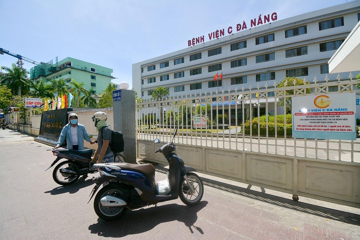 Bệnh viện C Đà Nẵng hiện đang được cách ly xã hội. Ảnh: Khôi Trần